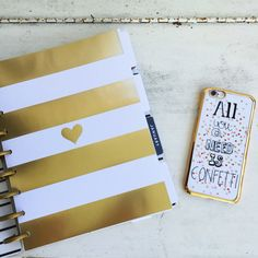 Happy Planner in gold Happy Planner, Notebook, Diy, Gold Rush, Dots, Canvas, Bricolage, Do It Yourself, The Notebook