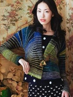 """""""Garter stitch"""" and """"Elegant garment"""" can go in the same sentence! CROPPED JACKET from Noro Magazine Premiere Issue - Fall 2012: Book by Noro   Knitting Fever. Link goes to Ravelry page, you can see many people's projects showing effects of yarn /color changes and notes on fitting and the knitting experience."""