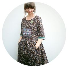 Corduroy Cinema Dress embellished with embroidered ribbons made by Ivy Arch