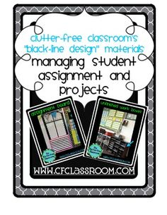 MANAGING STUDENT ASSIGNMENTS & PROJECTS - Blackline Design. This packet includes 6 printables that coordinate with all of my Blackline Design products:    must do / may do daily planner    weekly assignment planner    student choice time tracking sheet    status of the class template    must do / may do board headers