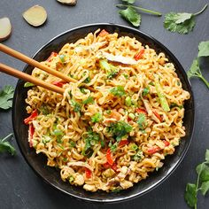 Ramen Noodle Stir Fry Recipe Main Dishes with rice vinegar, toasted sesame oil, soy sauce, hoisin sauce, brown sugar, minced garlic, minced ginger, ramen noodles, peanut oil, minced garlic, minced ginger, shiitake, broccoli, red bell pepper, eggs, scallions, cilantro