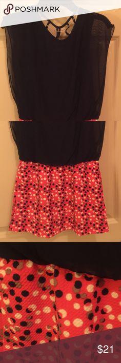 Girls navy/coral dress Sheer navy sleeveless blouson top with polka dot stretch skirt Xtraordinary Dresses