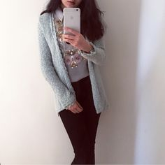 🎁cyber Monday Zara blue cable sweater cardigan Only tried it once. Very pretty and elegant. Just never had a chance to wear it. Goes well with all light color cloth. Size Small Zara Sweaters Cardigans