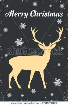 Merry Christmas vector illustration with decoration and deer and an inscription. Happy New Year design on dark background. Holiday greeting.