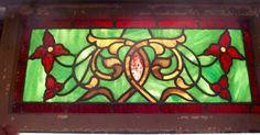 Victorian American stained glass transom window