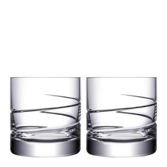 Swerve Double Old Fashioned Pair Whiskey Glass by Orrefors Designs