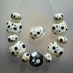 Etched Spots  Handmade Lampwork Beads Set SRA by Mandra on Etsy, $35.00