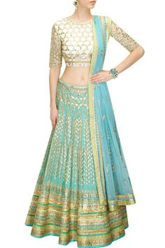Aqua color Bridal Lehenga with white Choli – Panache Haute Couture