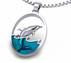 Leaping Dolphin Necklace $54.95 and Free US Shipping, made in the USA - Shop now at http://www.artistgifts.com/dolphin-jewelry-detail/aj007-dolphin-jewelry.html