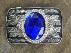 Vintage Cobalt and Silver Ladies Belt Buckle by SoSwankVintage