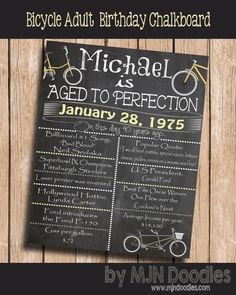 Bicycle Party 40th Birthday Decorations Boyfriend Printable Invitations Beer Bar Man Ideas