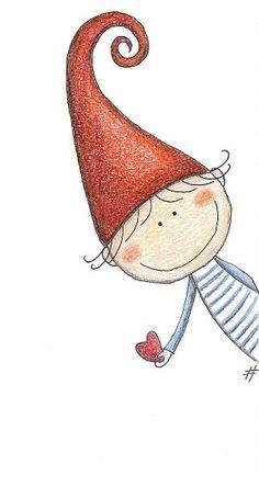 Un lutin au grand coeur - mezzo folletto - roberta topini Christmas Drawing, Christmas Art, Christmas Decorations, Christmas Doodles, Christmas Gnome, Rock Art, Doodle Art, Cute Drawings, Beautiful Drawings