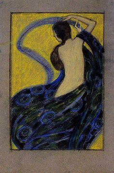 Drawing by Josef Maria Auchentaller Vienna Secessionist. Koloman Moser, Gustav Klimt, Poster Art, Design Poster, Art Nouveau Illustration, Vienna Secession, Surreal Art, Figure Painting, Graphic