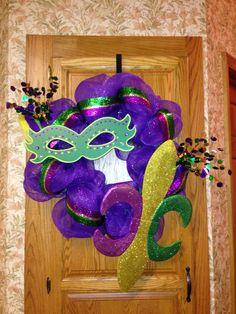 Mardi Gras wreath for @Deanne Collins front door.