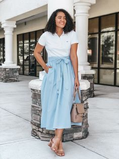 Beautiful spring outfit or hot weather vacation look - long tie waist sky blue skirt with white tee Spring Dresses, Spring Outfits, Trendy Outfits, Fashion Outfits, Clothing Haul, Clothing Items, Spring Fashion, Autumn Fashion, Target Clothes