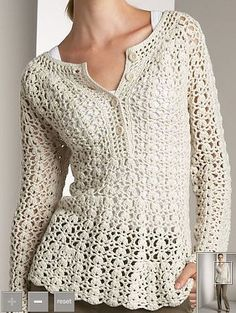 Crochet shirt with Blackberry uttons at the top.  Croche e trico da Fri, Fri´s crochet and tricot
