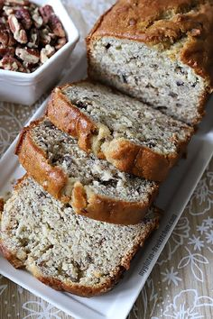 My son asked me to not just make plain gluten-free banana bread, but instead to include some nuts. Here's gluten-free banana nut bread with chopped pecans! Gluten Free Bagels, Gluten Free Sweets, Gluten Free Baking, Gluten Free Recipes, Gf Recipes, Diabetic Recipes, Vegetarian Recipes, Nut Bread Recipe, Banana Bread Recipes