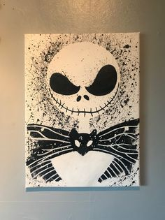 Jack Skeleington: Nightmare before Christmas canvas Nightmare Before Christmas Drawings, Nightmare Before Christmas Decorations, Christmas Canvas, Christmas Paintings, Mini Canvas Art, Diy Canvas, Art Sketches, Art Drawings, Halloween Painting