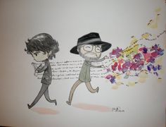 """How Good Omens Was Not Written"" Illustration of Pratchett & Gaiman - I seriously love this."