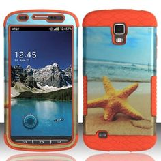 Insten/ Orange Star Fish Hard PC/ Silicone Dual Layer Hybrid Case Cover For Samsung Galaxy S4 Active, #1764013