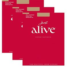 Women's Sheers - Hanes Womens Set of 3 Alive Full Support Control Top RT Pantyhose -- For more information, visit image link. (This is an Amazon affiliate link)