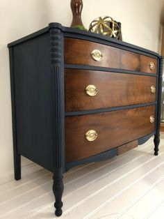 This beautiful dresser made by Kindel was the top of the line in the early to mid twentieth century. We have given it an update by painting the case in a custom union blue mix, then topcoated it… Refurbished Dressers, Antique Dressers, Dresser Refinish, Furniture Projects, Furniture Design, Milk Paint Furniture, Diy Furniture Renovation, Copper Furniture, Home Decor Ideas