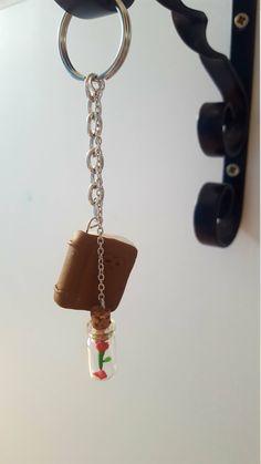 beauty and the beast keychain or bag charm, handmade, cute gift