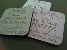 Unique Save the Date Magnet- Sample, Personalised Mr and Mrs Save the Date Magnets, Wedding Invitation, Shabby Chic Wedding Magnets