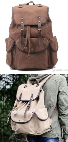 Retro Leather Strap Rucksack Thick Canvas Large Travel College Backpack for big sale ! #college #canvas #thick #large #travel #backpack #Bag #college