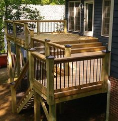 The general idea of our soon-to-be deck, minus the stairs. Left section= deck; right section= deck portion to later be made into a future screened porch. We'll also have lattice work under the deck. Deck Construction, Building A Deck, Porch, Stairs, Terrace, Ladder, Staircases, Porches, Stairway
