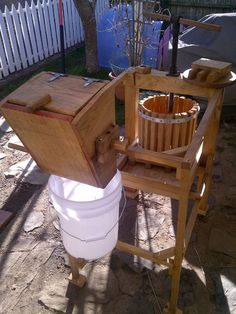 Here's the Instructable for our cider press. It's been in constant (seasonal) use since it was built in 2012, and would never have happened if not for the generosity and talent of John Saveliff. Thanks again John, you rock, dude!!