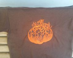 Check out Orange Embroidered Pumpkin On Brown Shirt Fall Thanksgiving Halloween on fabuellaboutique