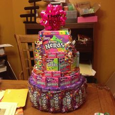 Nerds candy cake Get me this cake pleaseee Candy Birthday Cakes, Candy Cakes, Birthday Treats, 1st Birthday Parties, Best Candy, Favorite Candy, Nerd Birthday, Lolly Cake, Nerds Candy