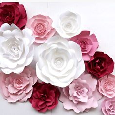 Ready To Ship Pink Paper Flower Wall,  large paper flower backdrop by PaperFlora