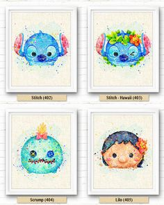 Tsum Tsum Stitch Lilo Watercolor Art Print par NeighborArts sur Etsy