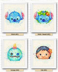 Tsum Tsum Stitch Lilo Watercolor Art Print par NeighborArts sur Etsy