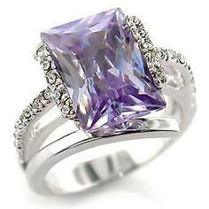 A55316 PB Amethyst Emerald Cut Simulated Diamond Glamorous Ring Pave All Sizes | eBay