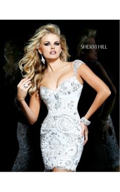 2014 White Embellished Fitted Dress by Sherri Hill 21197Outlet