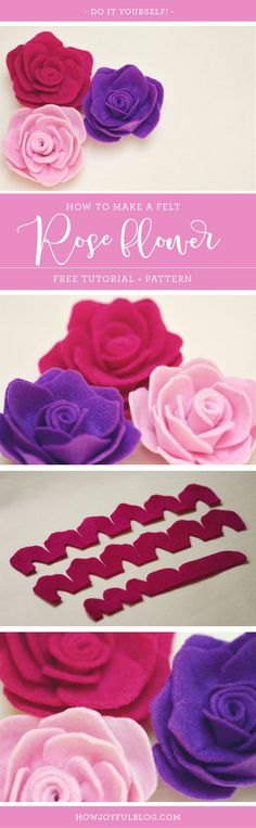 How to make a Rose out of felt - Tutorial and pattern by Joy Kelley from @howjoyful via @howjoyful