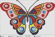 Beaded Embroidery, Cross Stitch Embroidery, Embroidery Patterns, Hand Embroidery, Xmas Cross Stitch, Butterfly Cross Stitch, Perler Patterns, Loom Patterns, Modern Cross Stitch Patterns