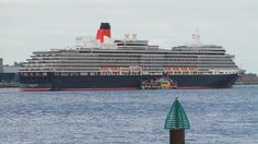 The Queen Victoria anchored for the night on the River Mersey