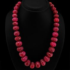 Red Ruby Necklace 929.00 Cts Genuine Exeburent Carved Beads Necklace