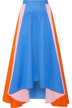 Peter Pilotto - Asymmetric Cotton-poplin Skirt - Bright blue - UK16