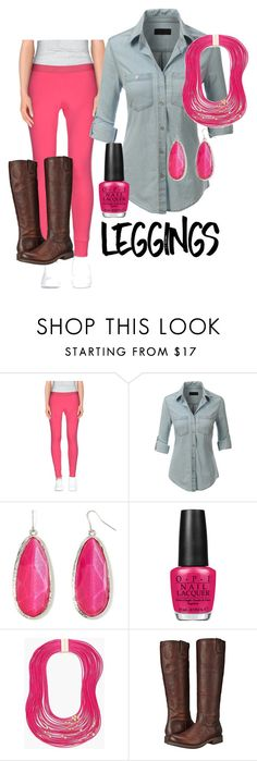 """""""prett in pink"""" by glitterati-glamazon ❤ liked on Polyvore featuring VDP, LE3NO, Mixit, OPI, Chico's, Frye, Leggings and WardrobeStaples"""