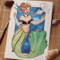 "2,402 Gostos, 40 Comentários - Raquel (@raqueltraveillustration) no Instagram: ""Princess of Arendelle Sea... Anna! With the weirdest and creepiest fish of the sea... Olafish! Who…"""