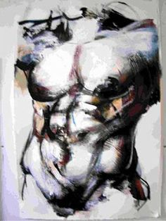 Male Torso with Wash 26 in x 40 in Acrylic Wash on Arches paper