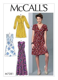M7381 | McCall's Patterns early summer 2016 HAVE A with sleeves 1 1/2 yd, contrast 1 yd. Crepe, crepe de chine, cotton blends.