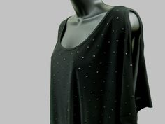 Plus Size 1X EMBELLISHED Top SOFT STRETCH Shirt OPEN SHOULDERS Trendy STUDS  NWT…