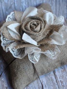 Artículos similares a Custom burlap ring bearer wedding pillow en Etsy Burlap Lace, Burlap Flowers, Lace Flowers, Hessian, Burlap Wreath, Fabric Flowers, Rose Lace, Pretty Flowers, Burlap Projects