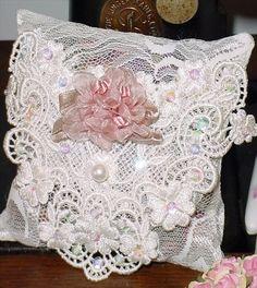 Large Roses Victorian Ribbon Roses Sachet 12594 by rosepretties,